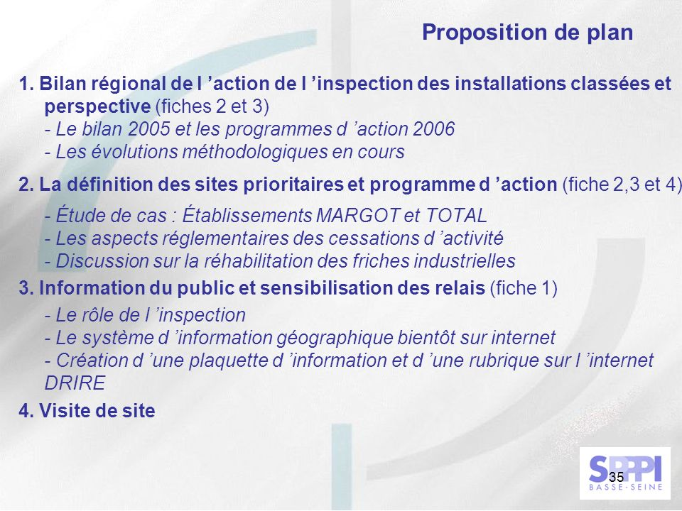 Proposition de plan 1. Bilan régional de l 'action de l 'inspection des installations classées et perspective (fiches 2 et 3)