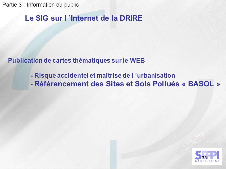 Le SIG sur l 'Internet de la DRIRE