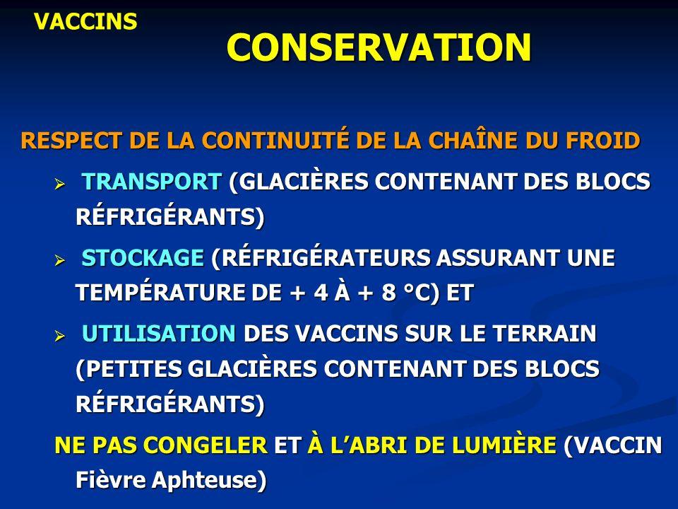 CONSERVATION VACCINS RESPECT DE LA CONTINUITÉ DE LA CHAÎNE DU FROID