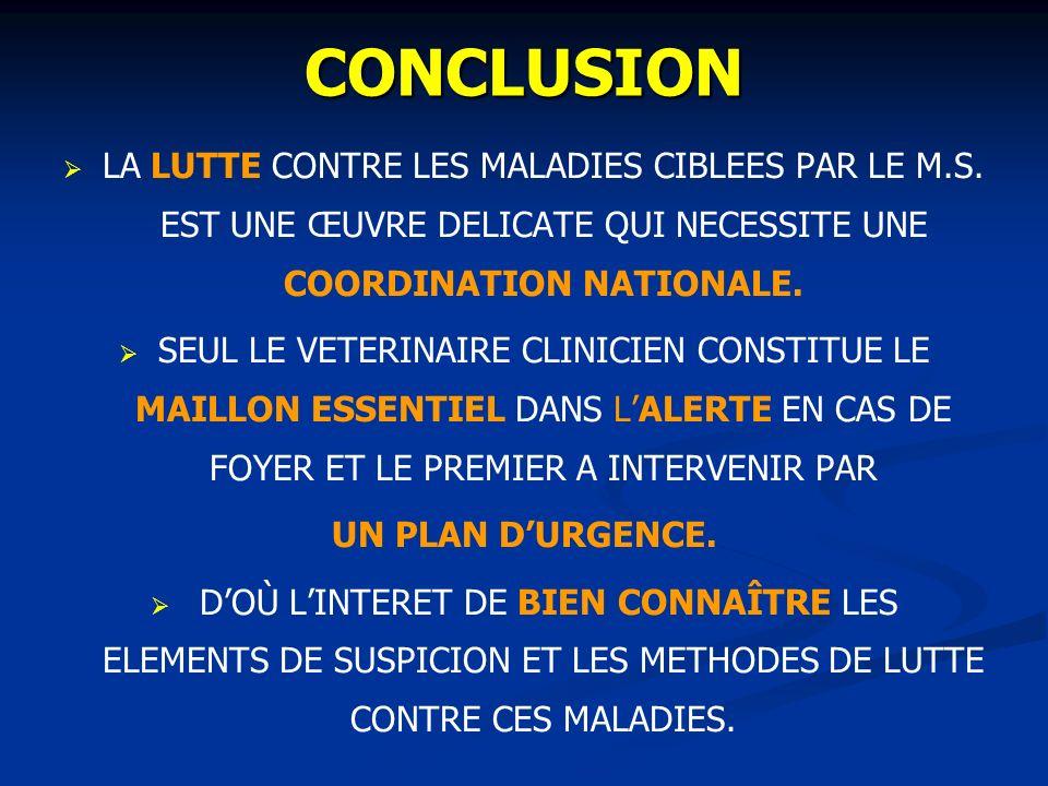 CONCLUSION LA LUTTE CONTRE LES MALADIES CIBLEES PAR LE M.S. EST UNE ŒUVRE DELICATE QUI NECESSITE UNE COORDINATION NATIONALE.