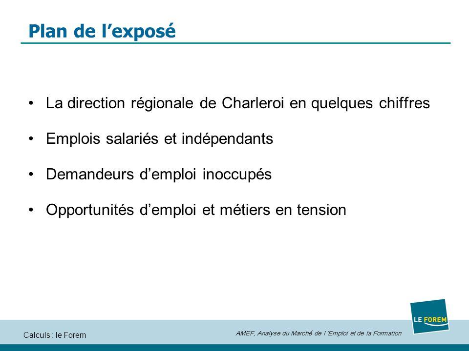 Plan de l'exposé La direction régionale de Charleroi en quelques chiffres. Emplois salariés et indépendants.