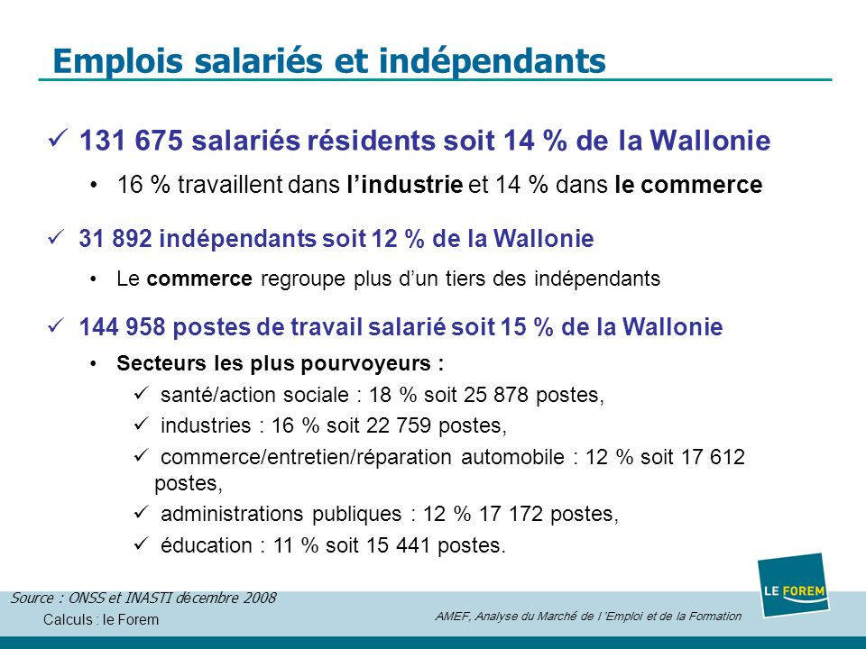 Emplois salariés et indépendants