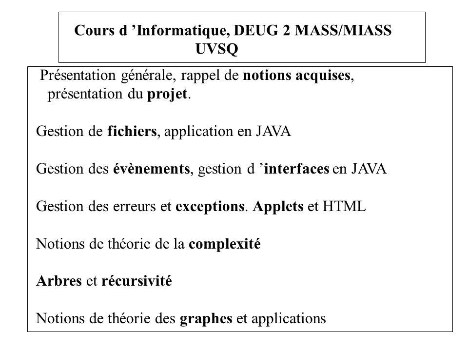 Cours d 'Informatique, DEUG 2 MASS/MIASS