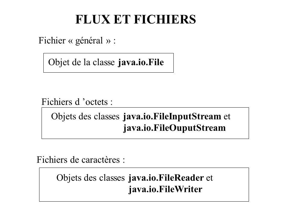 FLUX ET FICHIERS Fichier « général » : Objet de la classe java.io.File