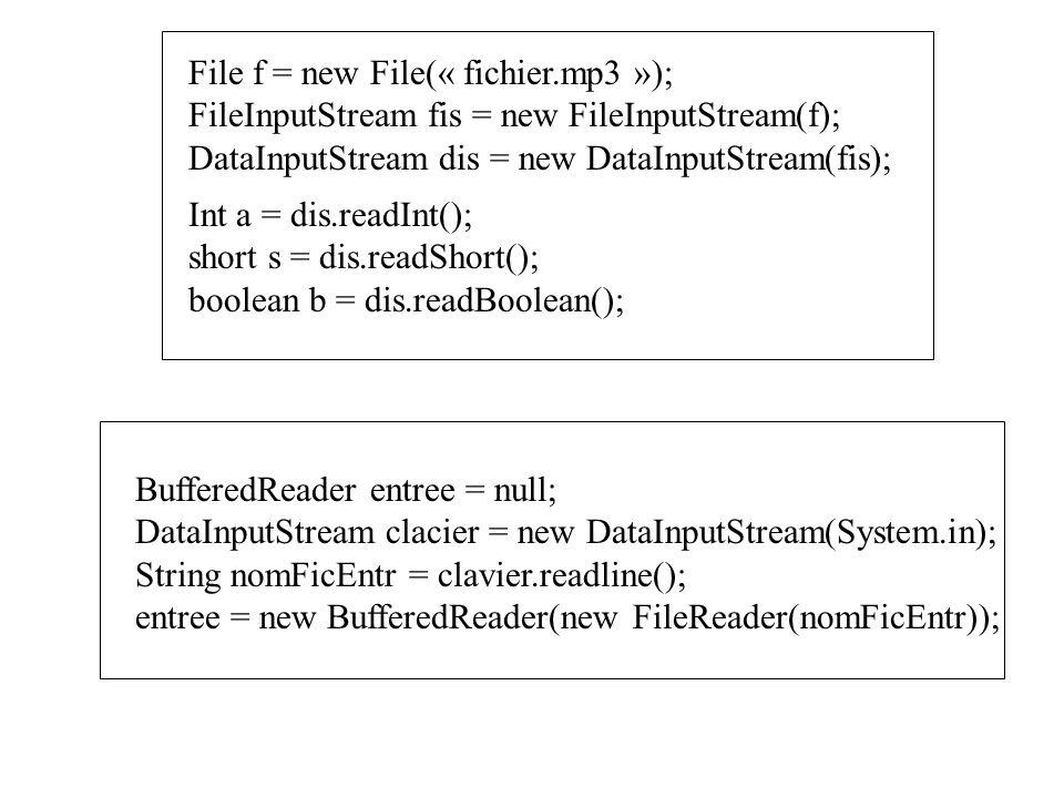 File f = new File(« fichier.mp3 »);