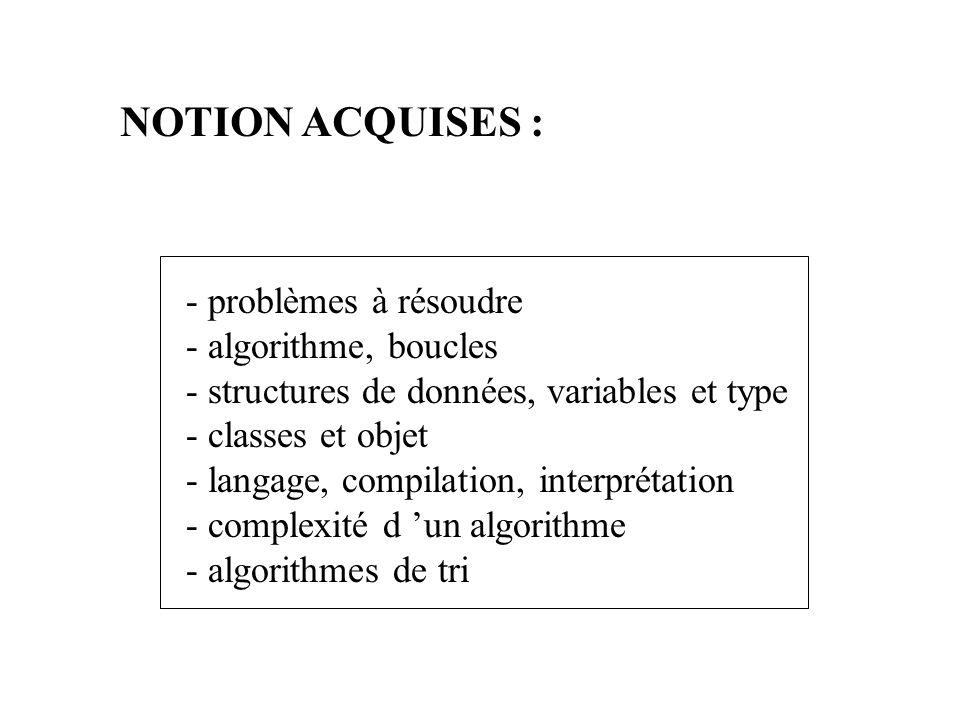 NOTION ACQUISES : - problèmes à résoudre - algorithme, boucles