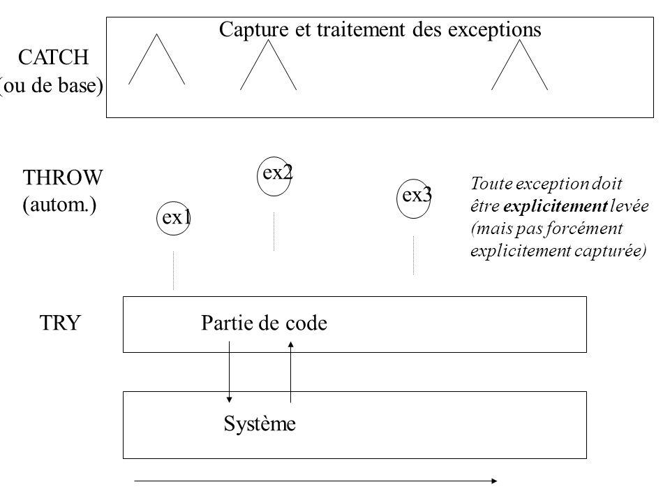 Capture et traitement des exceptions CATCH (ou de base)