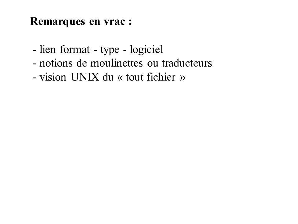 Remarques en vrac : - lien format - type - logiciel.