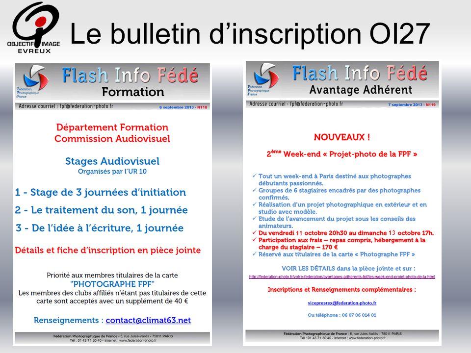 Le bulletin d'inscription OI27