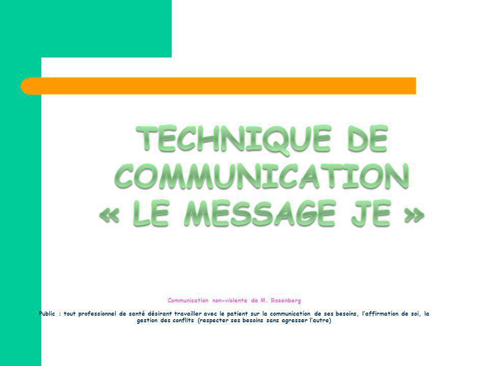 TECHNIQUE DE COMMUNICATION « le message je »
