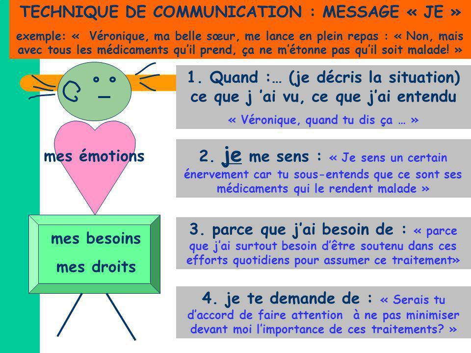 TECHNIQUE DE COMMUNICATION : MESSAGE « JE »