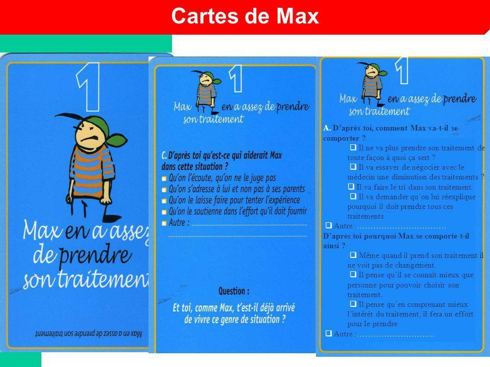 Cartes de Max A. D'après toi, comment Max va-t-il se comporter