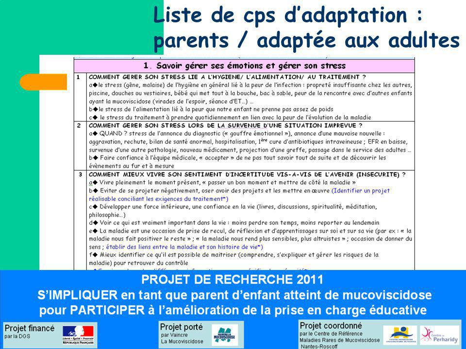 Liste de cps d'adaptation : parents / adaptée aux adultes