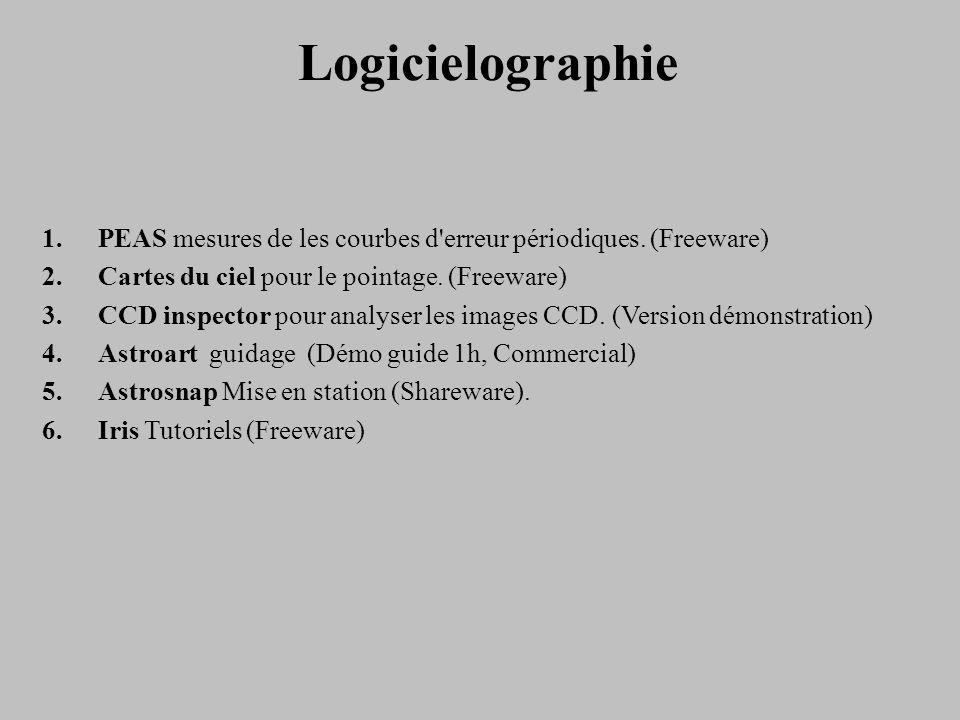 Logicielographie PEAS mesures de les courbes d erreur périodiques. (Freeware) Cartes du ciel pour le pointage. (Freeware)