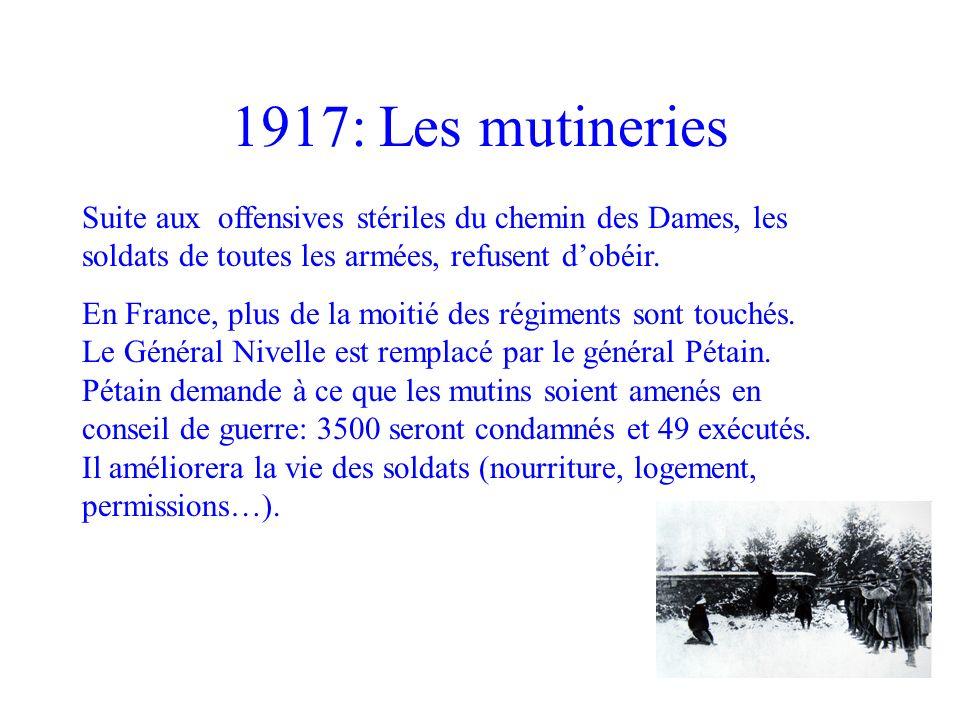 1917: Les mutineries Suite aux offensives stériles du chemin des Dames, les soldats de toutes les armées, refusent d'obéir.