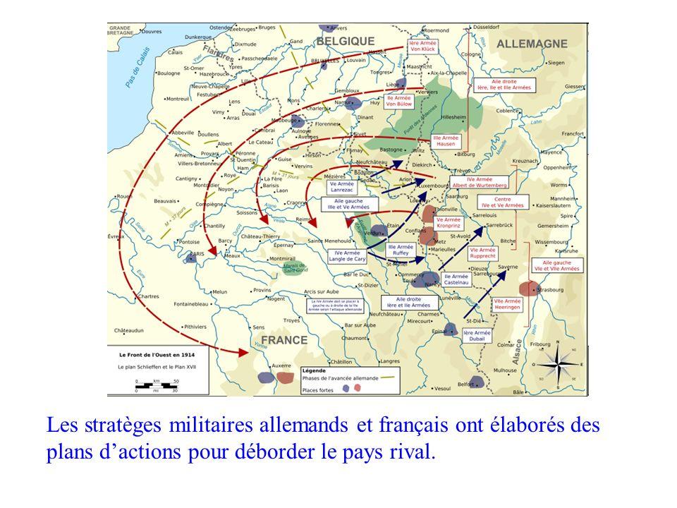 Stratégies Les stratèges militaires allemands et français ont élaborés des plans d'actions pour déborder le pays rival.