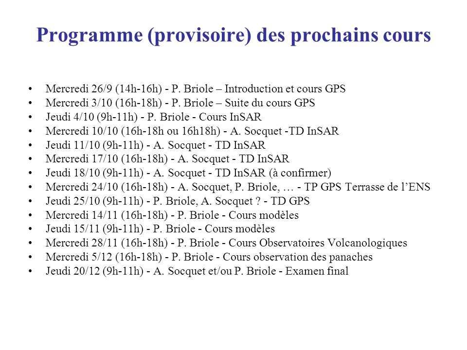 Programme (provisoire) des prochains cours
