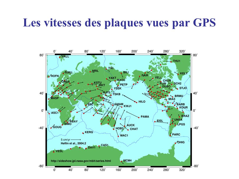 Les vitesses des plaques vues par GPS
