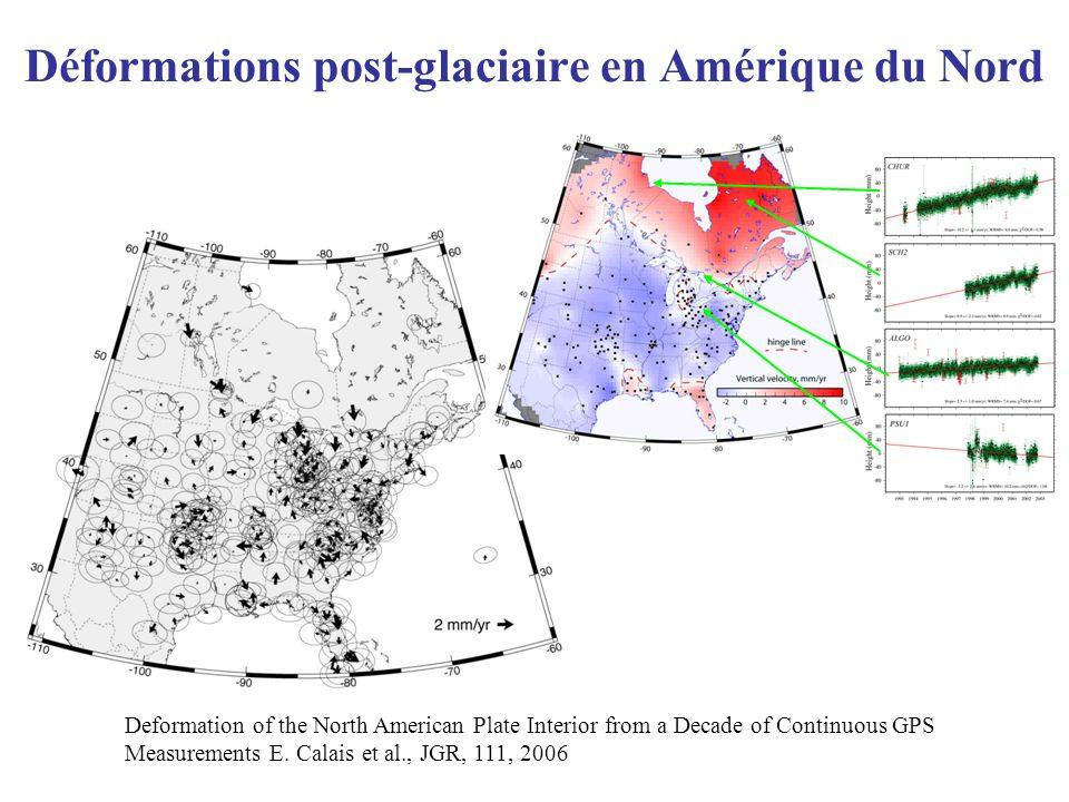 Déformations post-glaciaire en Amérique du Nord