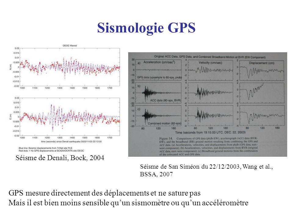 Sismologie GPS Séisme de Denali, Bock, 2004. Séisme de San Siméon du 22/12/2003, Wang et al., BSSA, 2007.