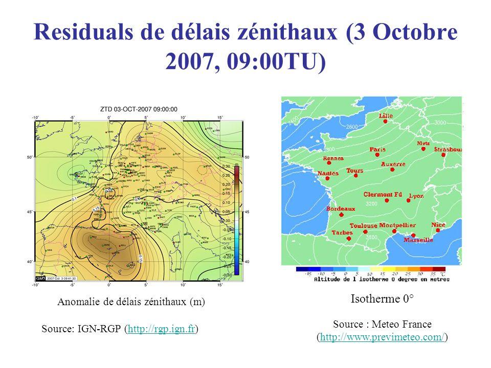 Residuals de délais zénithaux (3 Octobre 2007, 09:00TU)