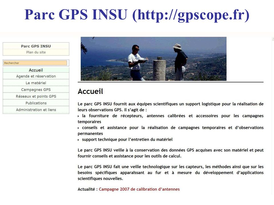 Parc GPS INSU (http://gpscope.fr)