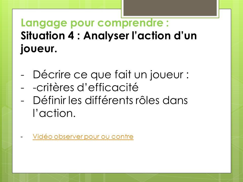Langage pour comprendre : Situation 4 : Analyser l'action d'un joueur.