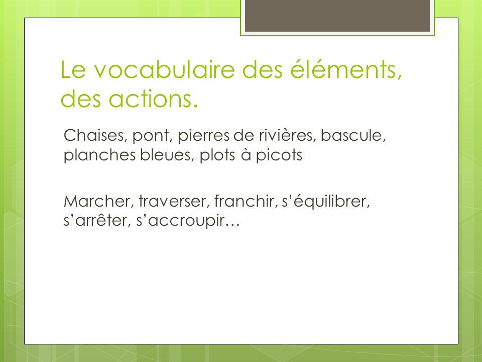 Le vocabulaire des éléments, des actions.
