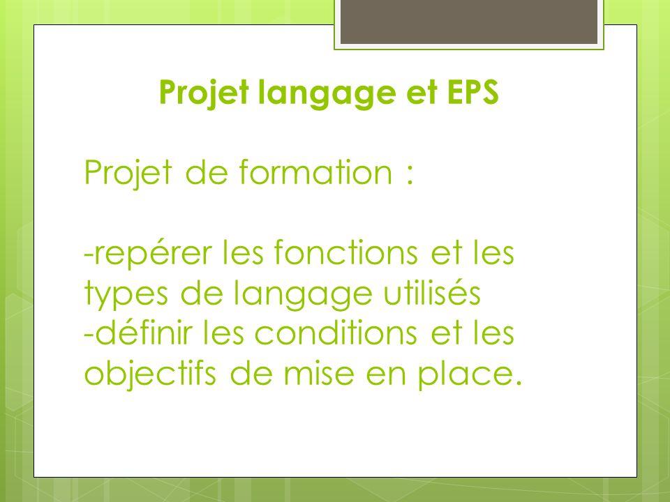 Projet langage et EPS Projet de formation : -repérer les fonctions et les types de langage utilisés -définir les conditions et les objectifs de mise en place.