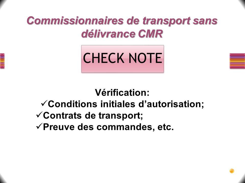 CHECK NOTE Commissionnaires de transport sans délivrance CMR