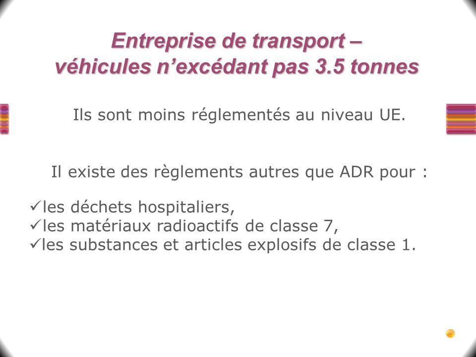 Entreprise de transport – véhicules n'excédant pas 3.5 tonnes