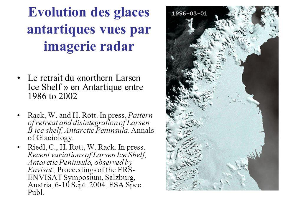 Evolution des glaces antartiques vues par imagerie radar