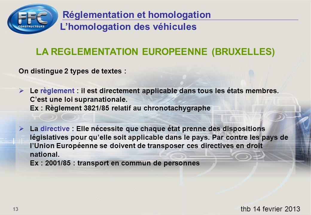 LA REGLEMENTATION EUROPEENNE (BRUXELLES)