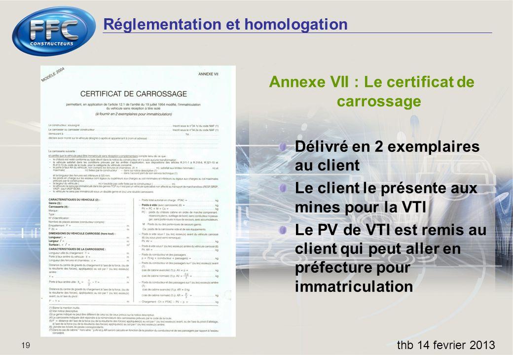 Annexe VII : Le certificat de carrossage