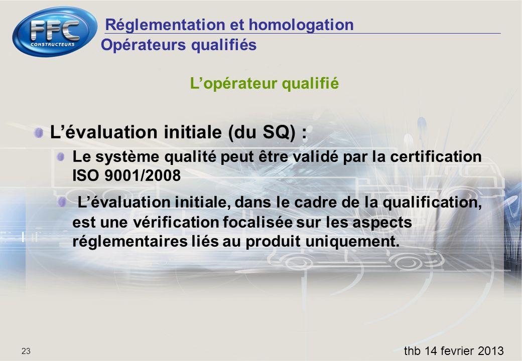 L'évaluation initiale (du SQ) :