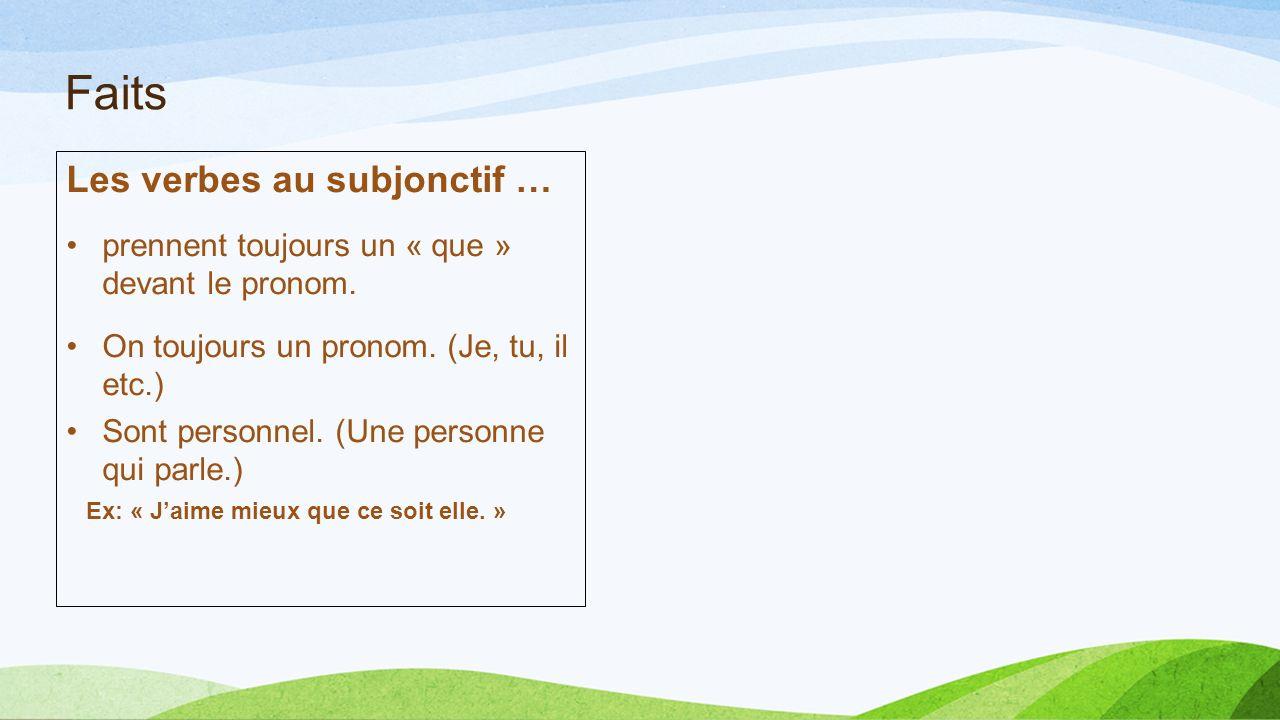 Faits Les verbes au subjonctif …