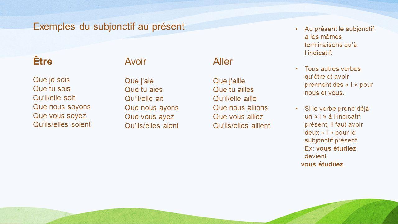 Exemples du subjonctif au présent