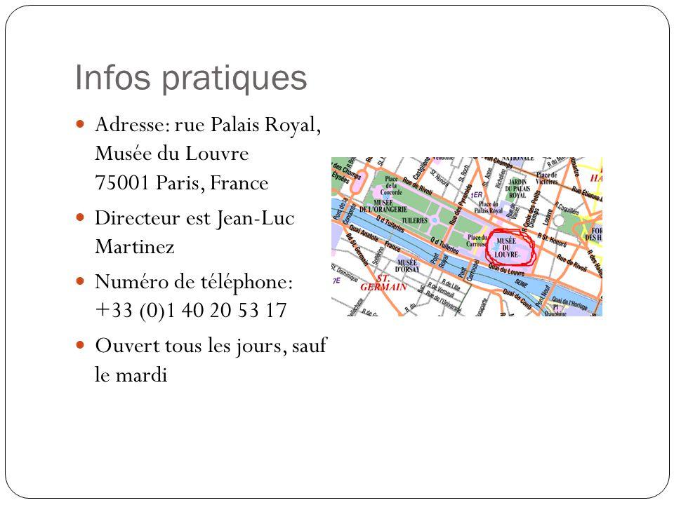 Infos pratiques Adresse: rue Palais Royal, Musée du Louvre 75001 Paris, France. Directeur est Jean-Luc Martinez.