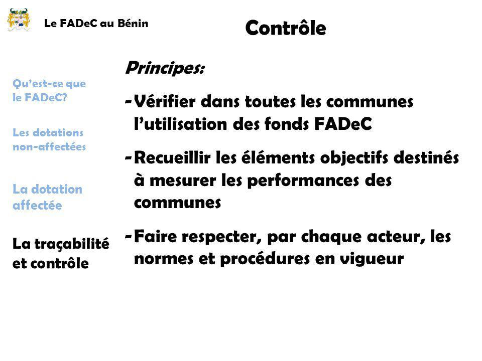 Le FADeC au Bénin Contrôle. Principes: Vérifier dans toutes les communes l'utilisation des fonds FADeC.