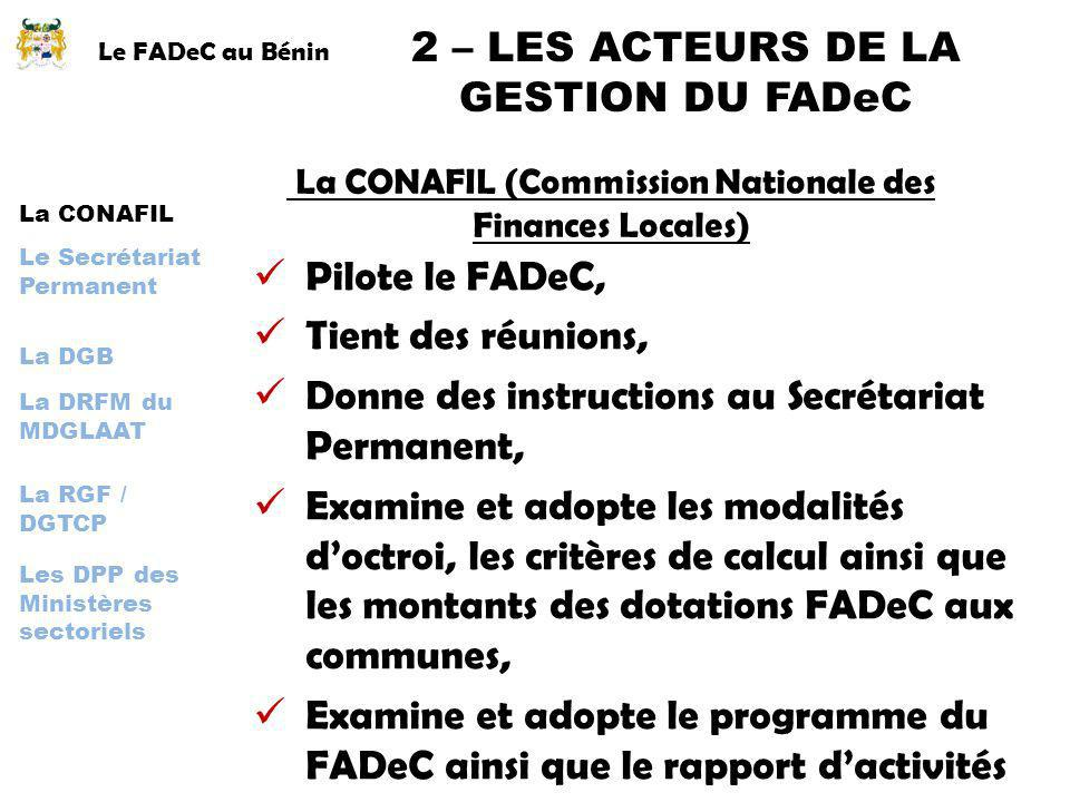 2 – LES ACTEURS DE LA GESTION DU FADeC