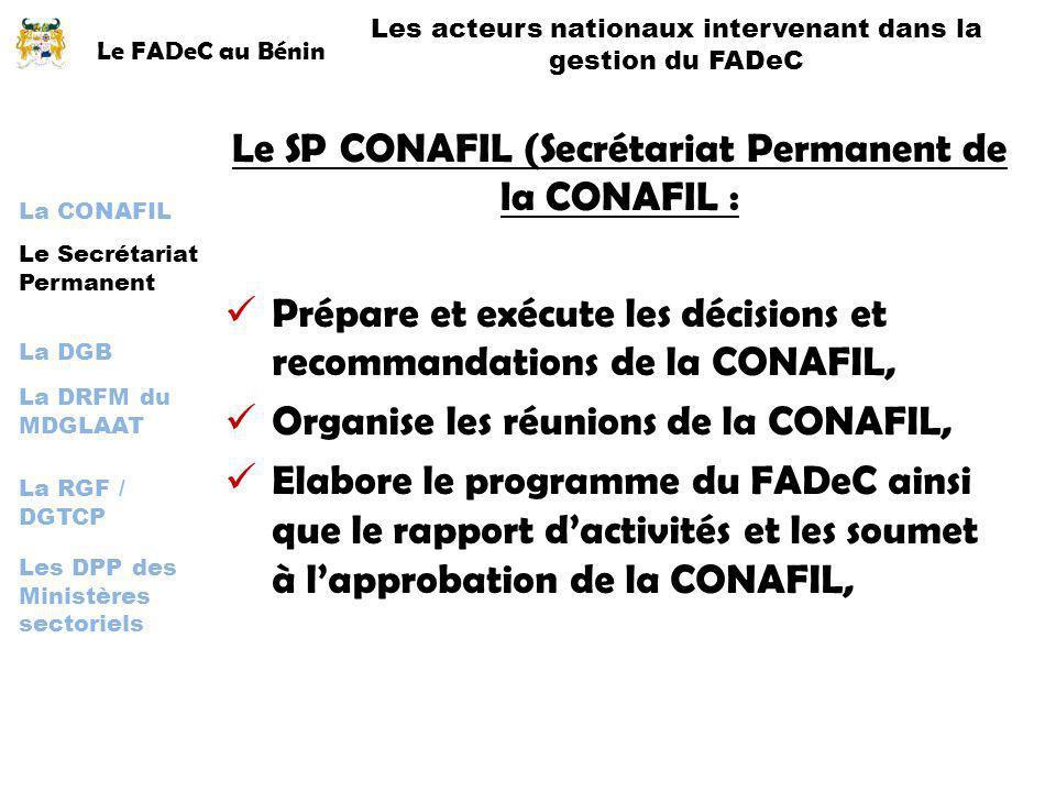 Le SP CONAFIL (Secrétariat Permanent de la CONAFIL :