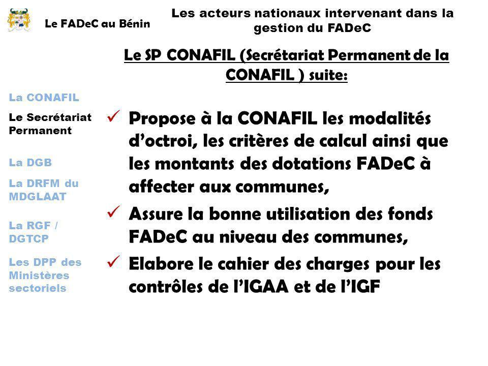 Assure la bonne utilisation des fonds FADeC au niveau des communes,