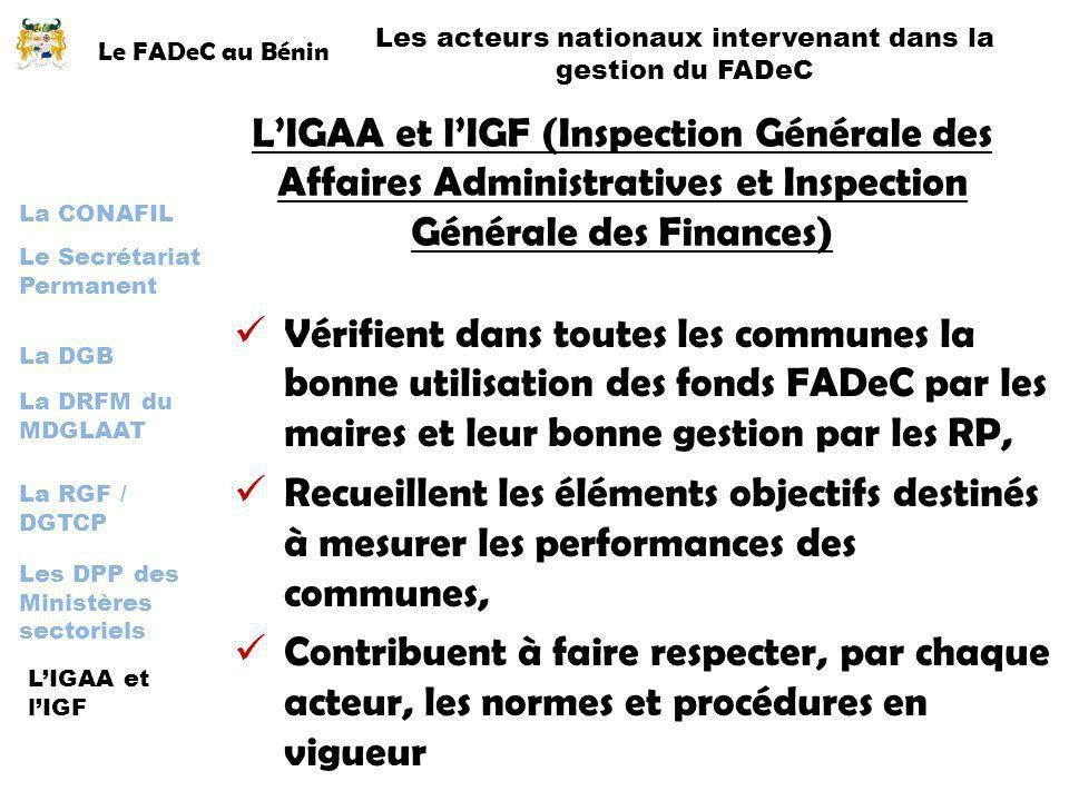 Les acteurs nationaux intervenant dans la gestion du FADeC