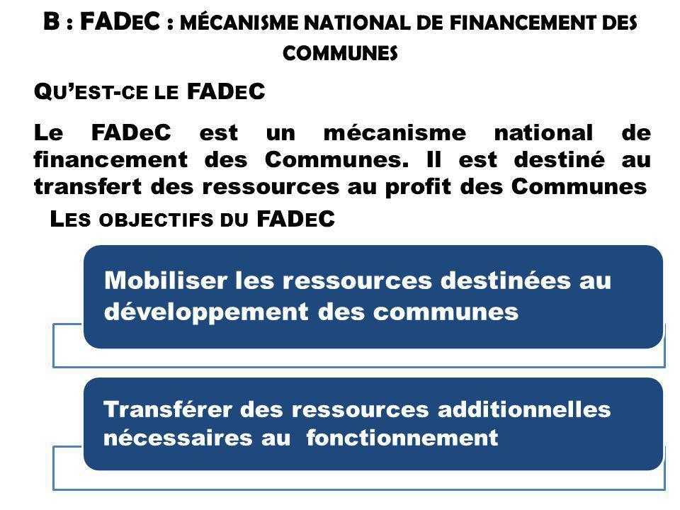 B : FADeC : mécanisme national de financement des communes