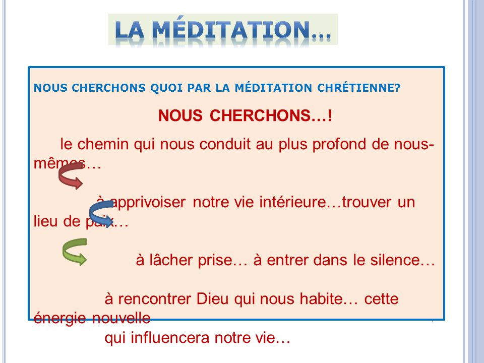 La méditation… NOUS CHERCHONS…!