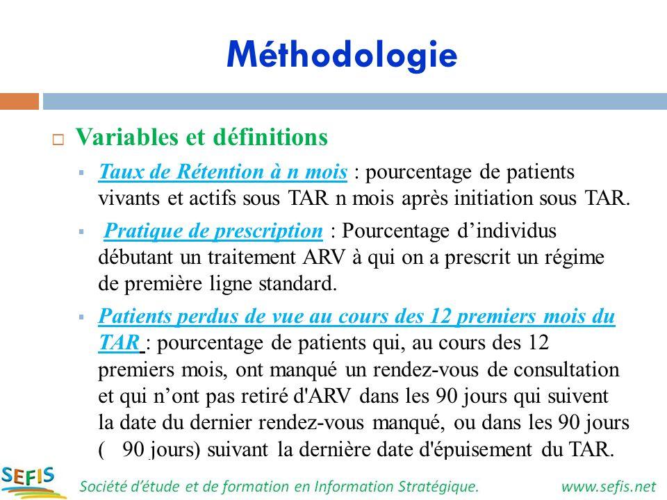 Méthodologie Variables et définitions