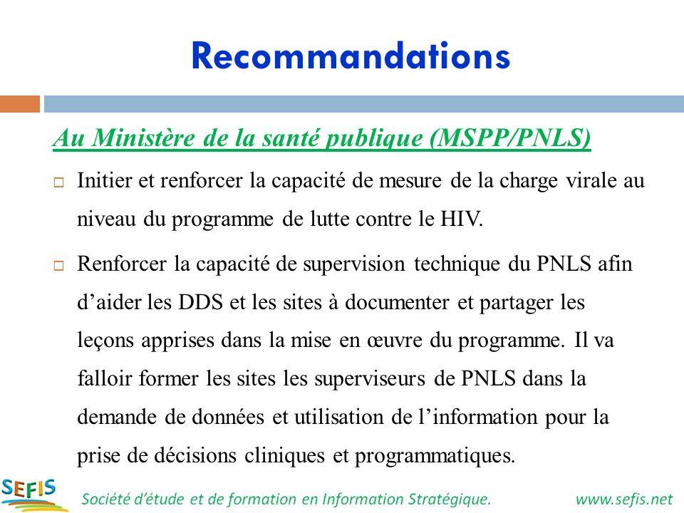 Recommandations Au Ministère de la santé publique (MSPP/PNLS)