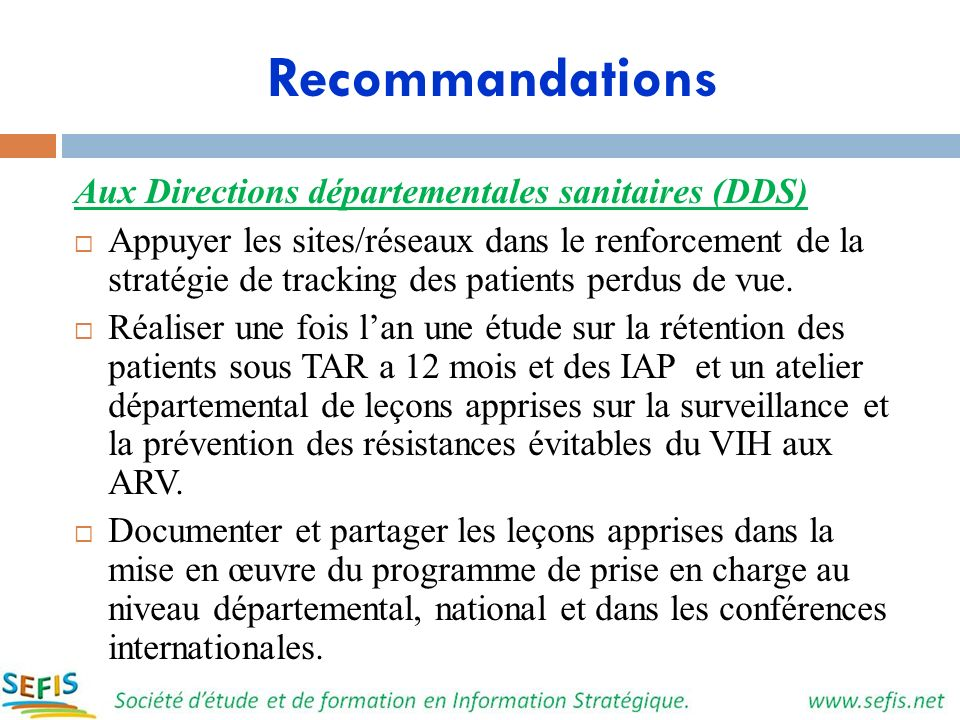 Recommandations Aux Directions départementales sanitaires (DDS)