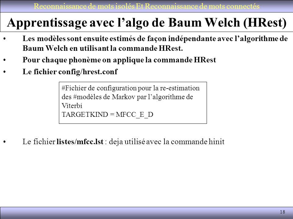 Apprentissage avec l'algo de Baum Welch (HRest)