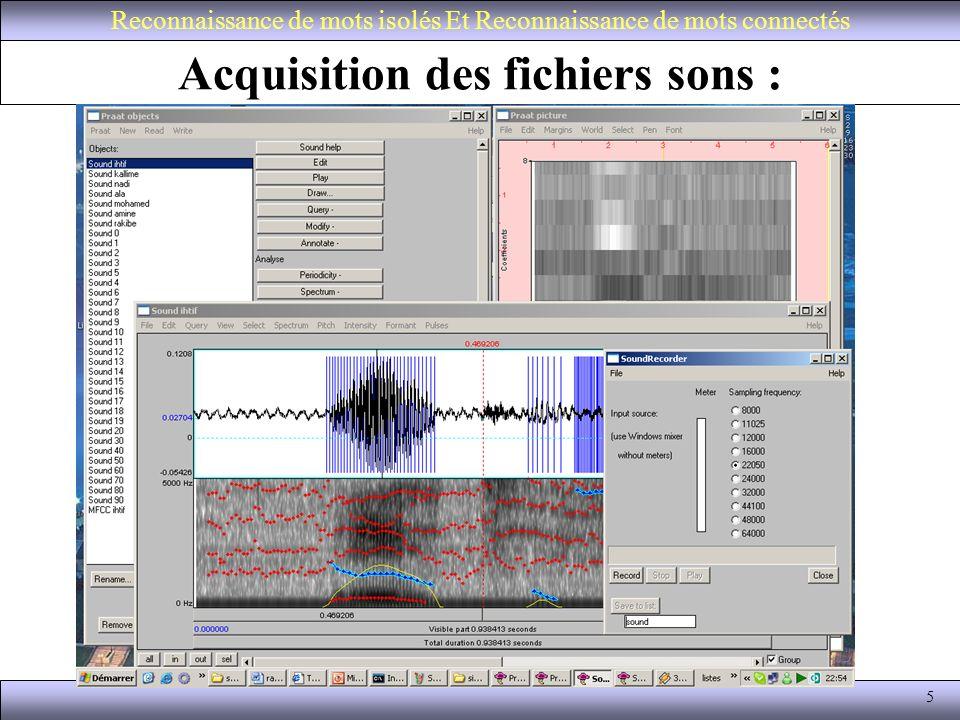 Acquisition des fichiers sons :
